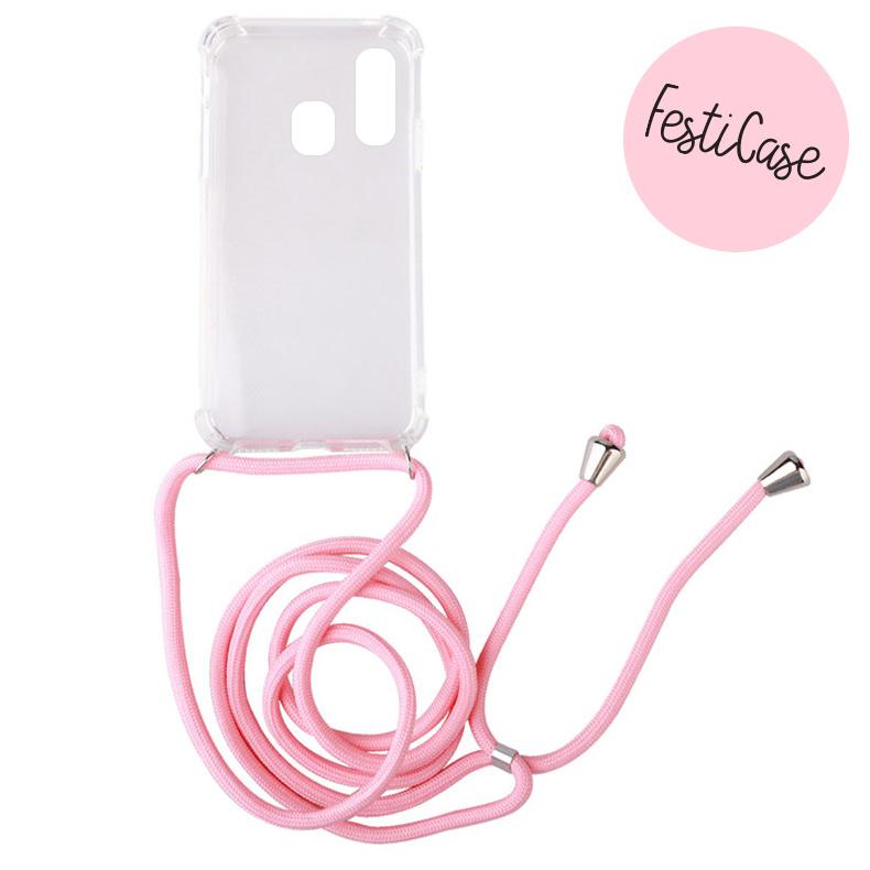 FOONCASE FESTICASE Samsung Galaxy A40 Telefoonhoesje met koord (Roze) TPU Soft Case - Transparant