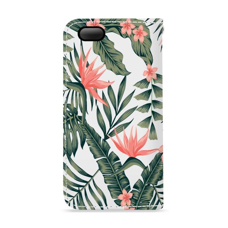 FOONCASE iPhone 5/5s hoesje - Bookcase - Flipcase - Hoesje met pasjes - Tropical Desire / Bladeren / Roze