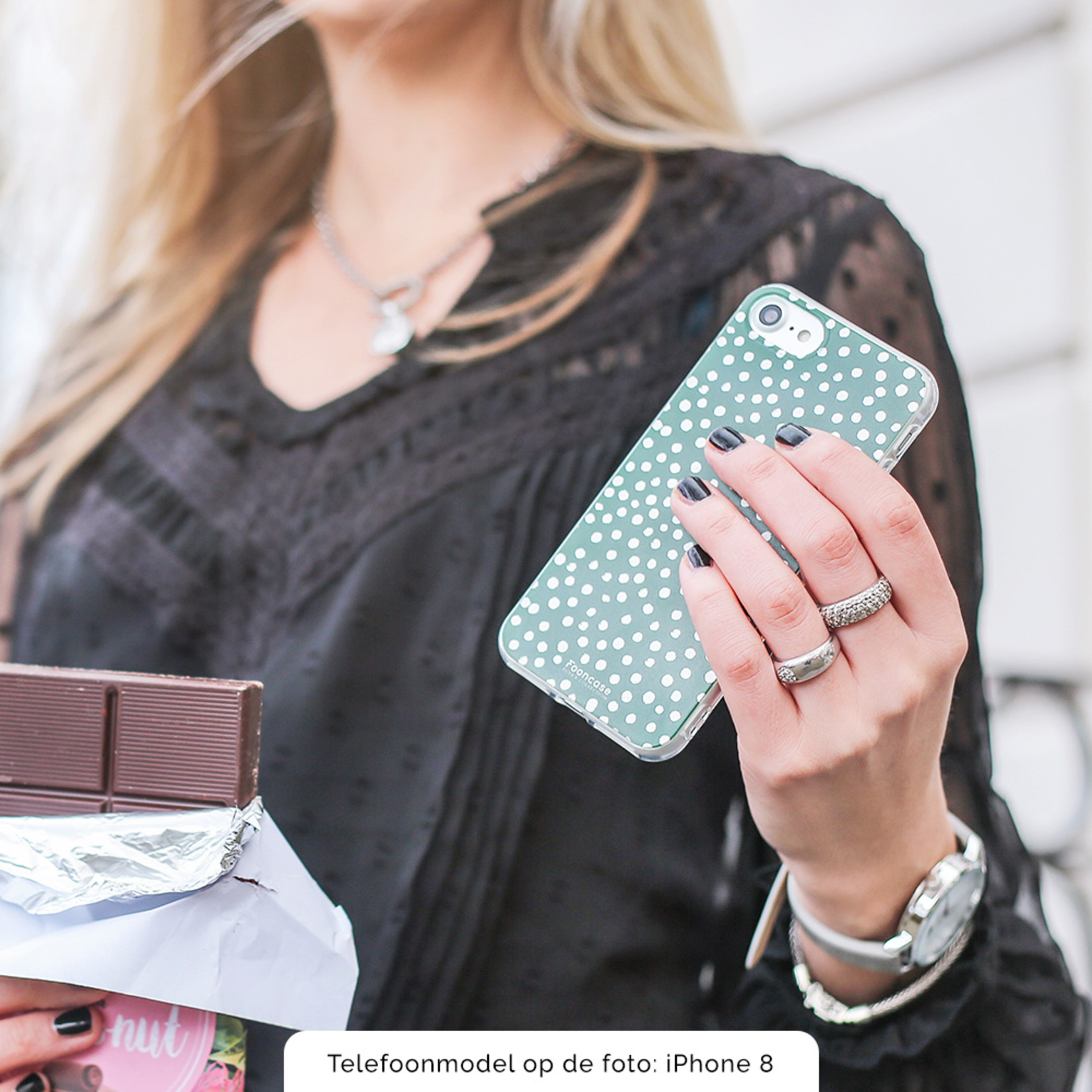 FOONCASE Samsung Galaxy S21 hoesje TPU Soft Case - Back Cover - POLKA COLLECTION / Stipjes / Stippen / Donker Groen