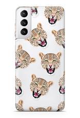FOONCASE Samsung Galaxy S21 hoesje TPU Soft Case - Back Cover - Cheeky Leopard / Luipaard hoofden