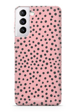 FOONCASE Samsung Galaxy S21 hoesje TPU Soft Case - Back Cover - POLKA COLLECTION / Stipjes / Stippen / Roze
