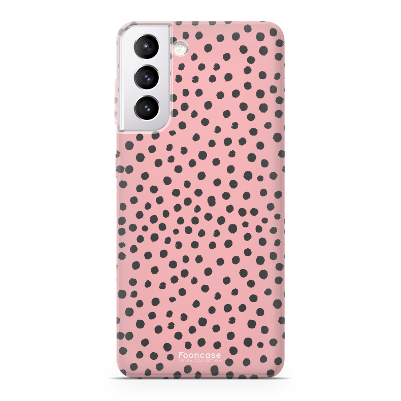 FOONCASE Samsung Galaxy S21 Plus hoesje TPU Soft Case - Back Cover - POLKA COLLECTION / Stipjes / Stippen / Roze