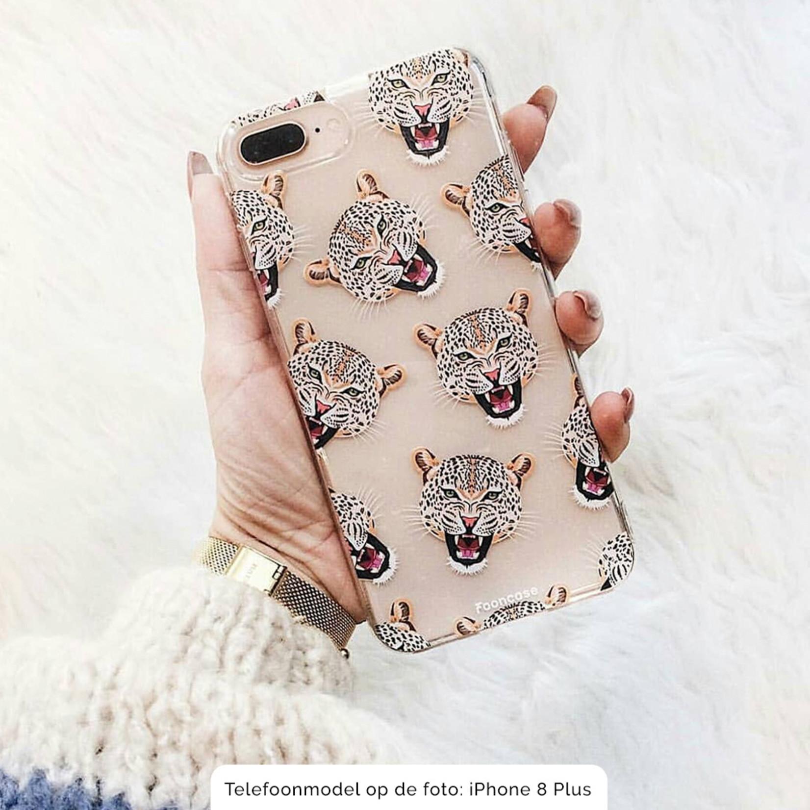 FOONCASE Samsung Galaxy S21 Plus hoesje TPU Soft Case - Back Cover - Cheeky Leopard / Luipaard hoofden