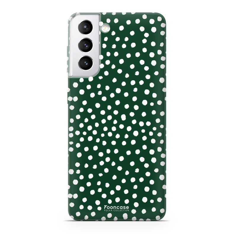 FOONCASE Samsung Galaxy S21 Plus hoesje TPU Soft Case - Back Cover - POLKA COLLECTION / Stipjes / Stippen / Donker Groen
