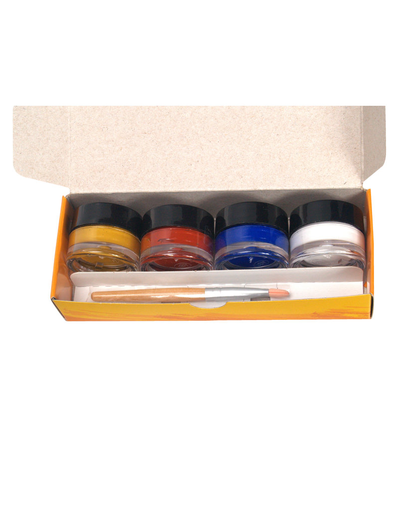 Natural Face Paint Kit Mini red, blue, white and yellow
