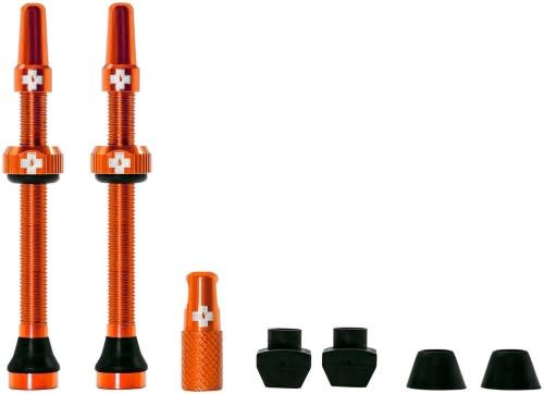 Muc-Off Muc-Off Tubeless Valve Kit: Orange, Fits Road and Mountain, 60mm, Pair