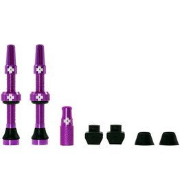 Muc-Off Muc-Off Tubeless Valve Kit: Purple, Fits Road and Mountain, 60mm, Pair