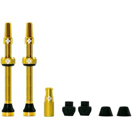 Muc-Off Tubeless Valve Kit: Gold, Fits Road and Mountain, 60mm, Pair