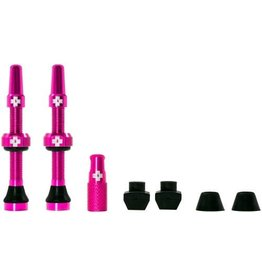 Muc-Off Muc-Off Tubeless Valve Kit: Pink, Fits Road and Mountain, 44mm, Pair
