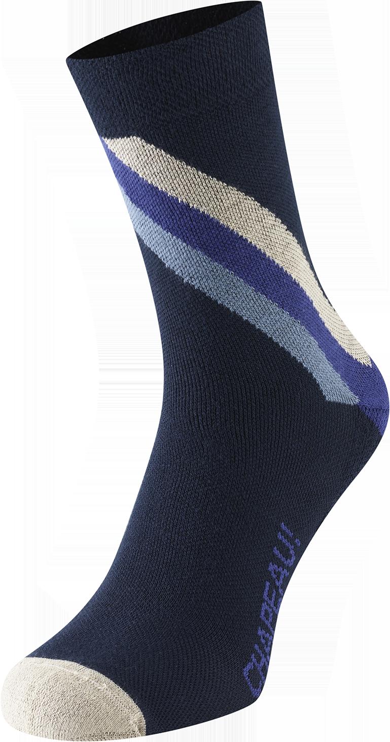 Chapeau! Chapeau!, Midweight Performance Socks, Block Stripe, Tall, Deep Ocean, 40-43