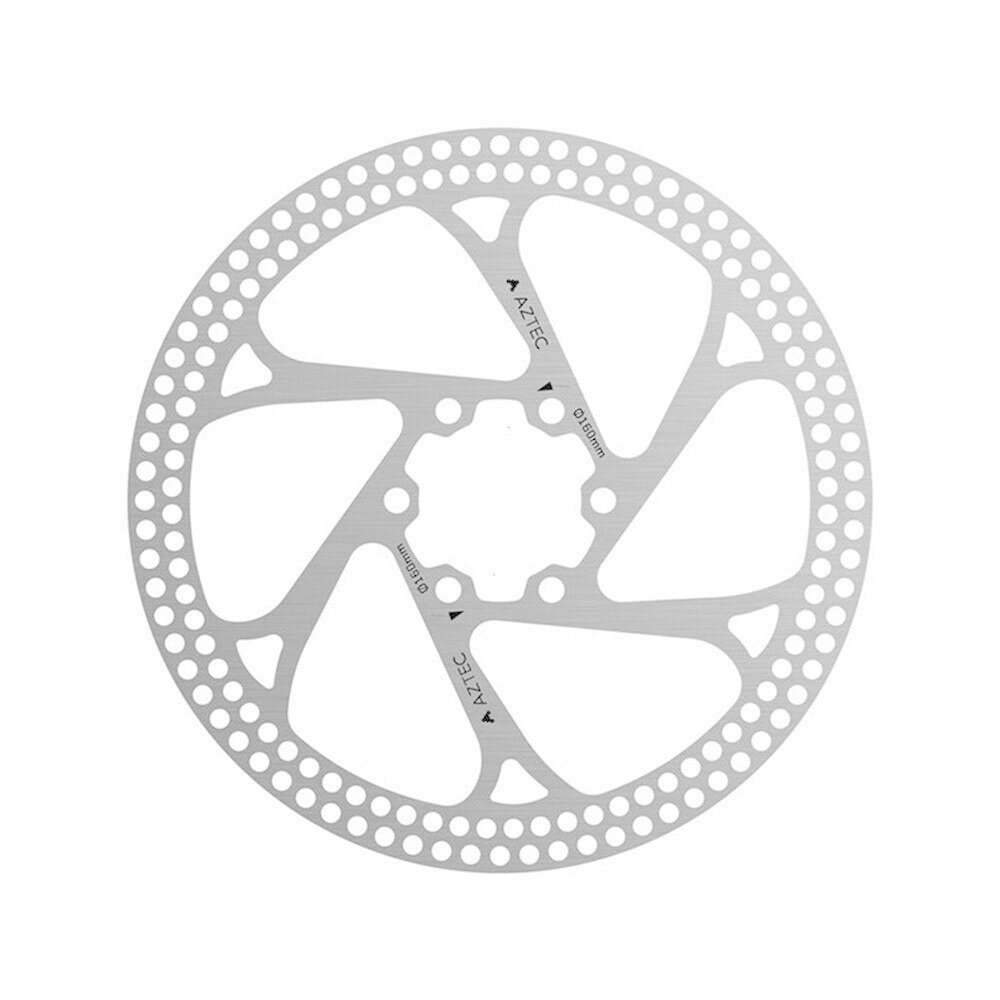 Aztec Stainless Steel fixed disc rotor with circular cut outs - 180 mm Silver 180 mm