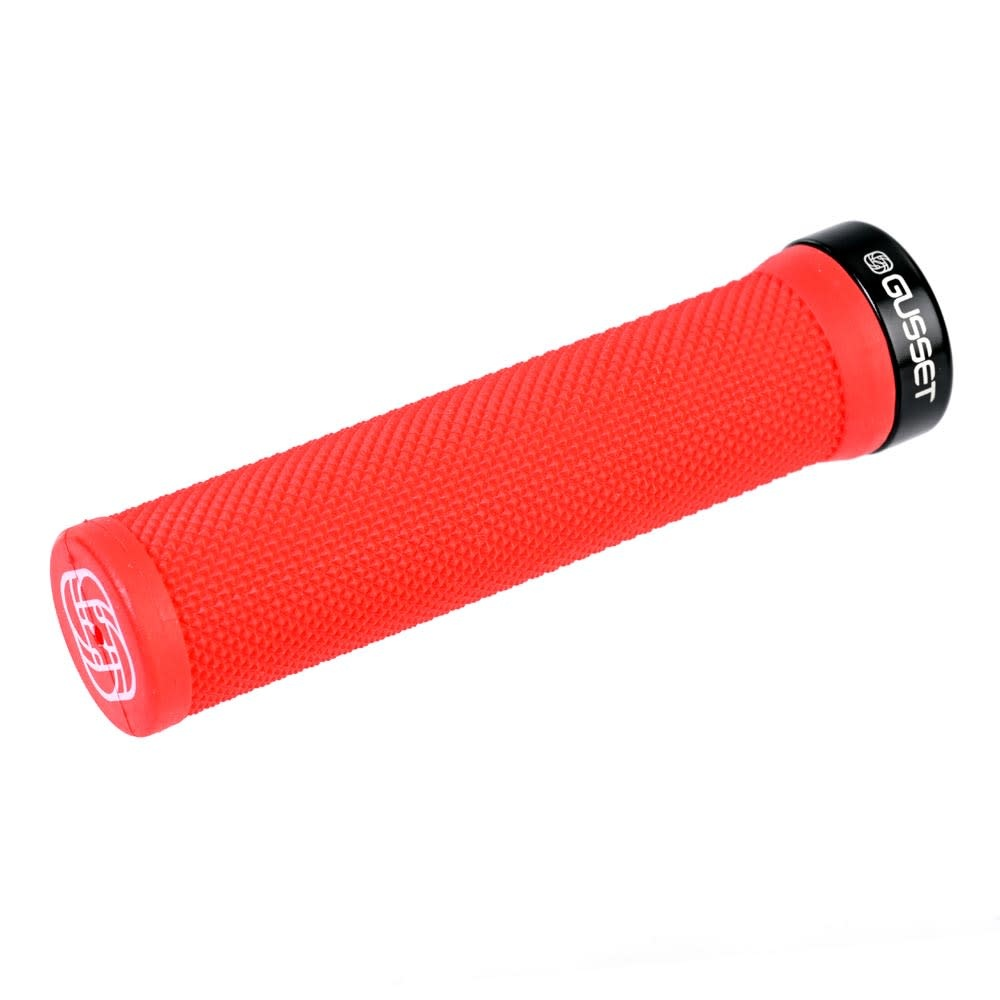 Gusset Single File Lock on Grips - Red
