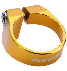 Acor CNC Alloy Bolt Seat Post Clamp: Gold 34.9mm