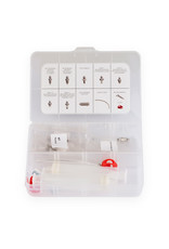 Universal bleed kit with syringe and nipples to suit most brands Black Universal
