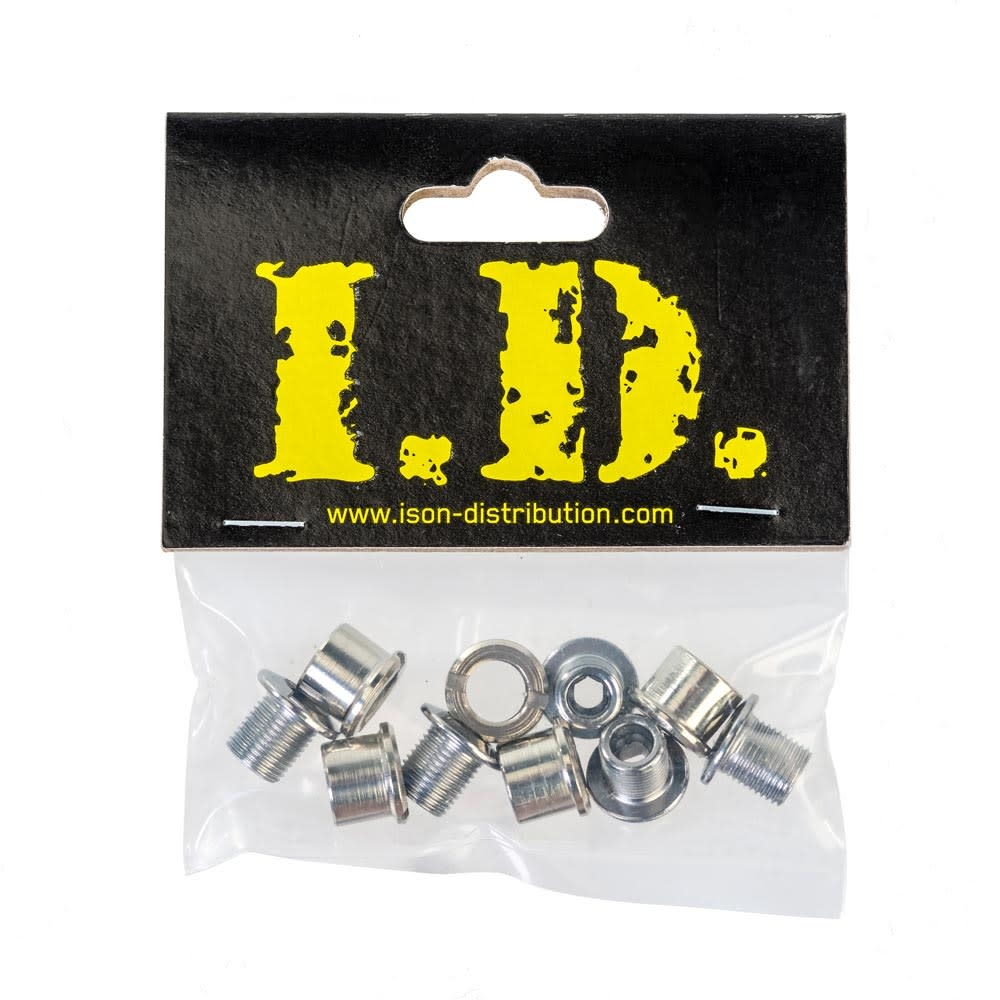 Chainring Bolts - Single M8*0.75 - Steel, Hex Fitting Chrome