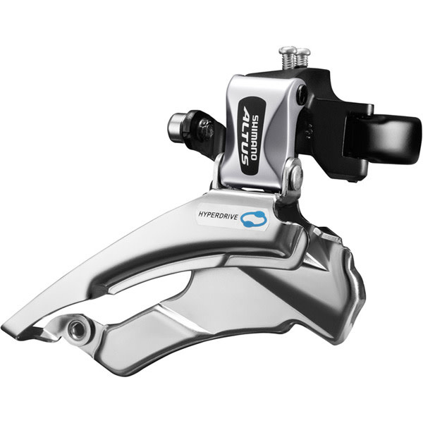 FD-M313 Altus hybrid front derailleur, conventional swing, dual-pull, multi fit Silver 7/8-speed Conventional Swing