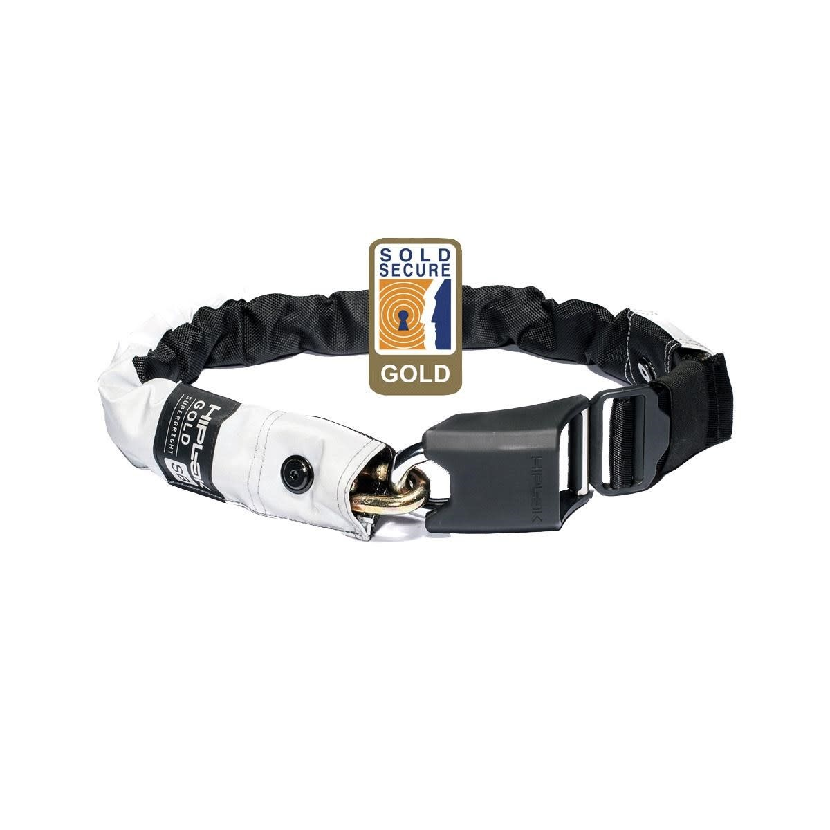 HIPLOK GOLD WEARABLE CHAIN LOCK 10MM X 85CM - WAIST 24-44 INCHES (GOLD SOLD SECURE) HIGH VISIBILITY: HI-VIZ 10MM X 85CM