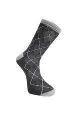 Madison Clothing Assynt merino long sock, argyle black large 43-45