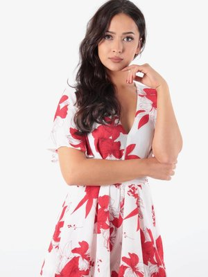 Vera & Lucy Playsuit white red flowers