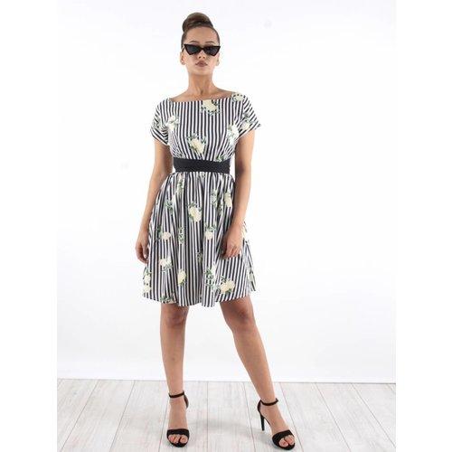 Daphnea Lemon stripe dress