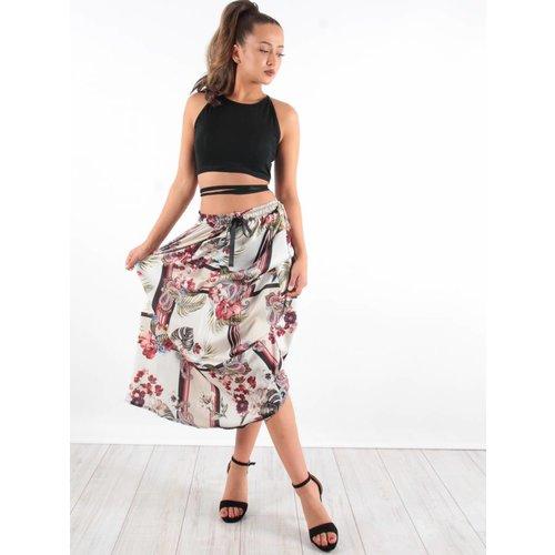 Blu Royal Maxi skirt flower stripe