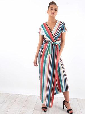 Ladylike Stripe dress brown