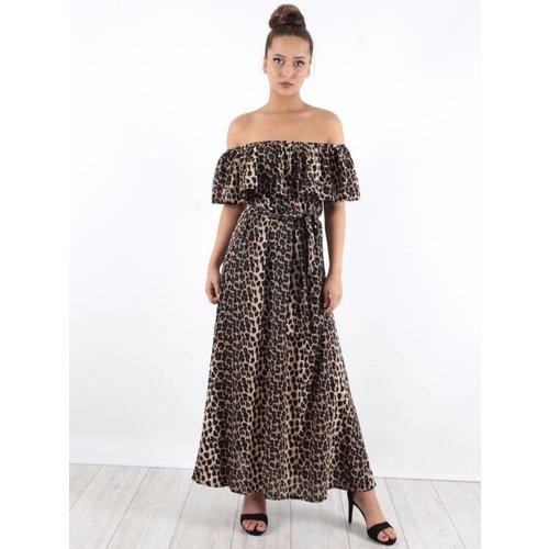 Ambika Off shoulder maxi dress leopard