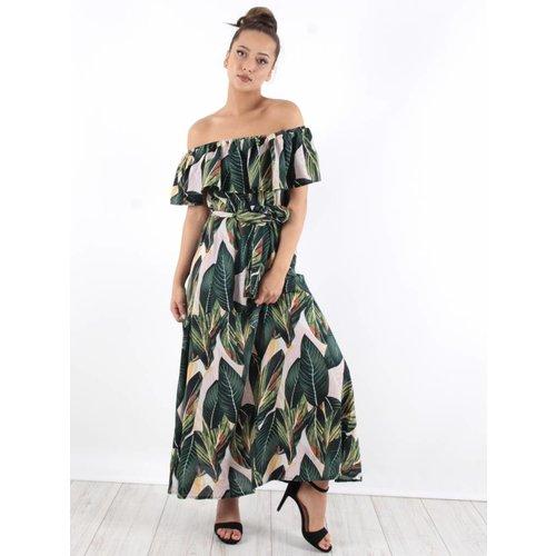 Ambika Off shoulder maxi dress leaves
