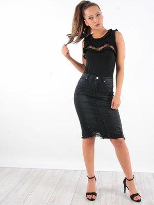 Jeans skirt black B658