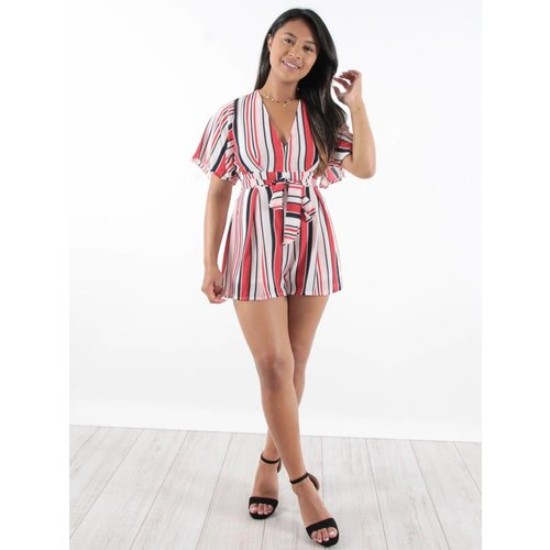 Cherry Koko Playsuit stripes RWB