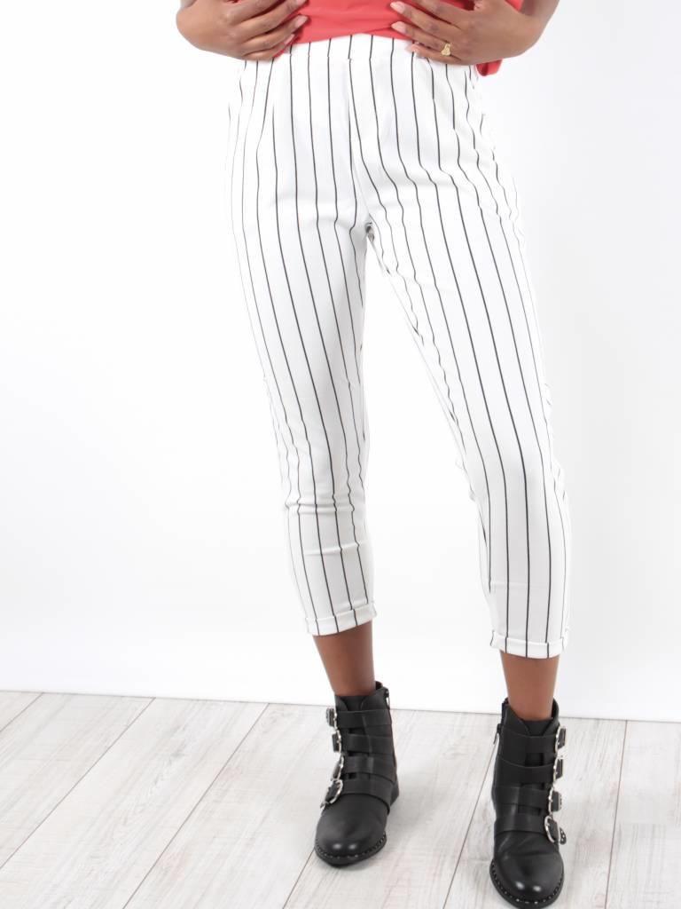 Cherry Koko Pants white small black stripe