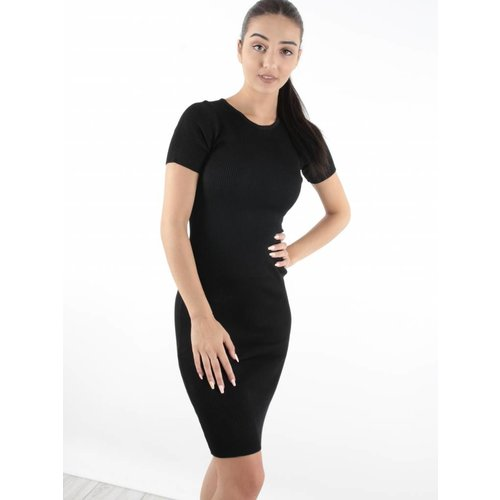 Cherry Koko Dress rib black