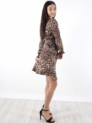 Vintage Dressing Dress ruffle leopard