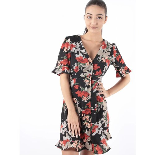 Lucy Wang Dress noir flowers