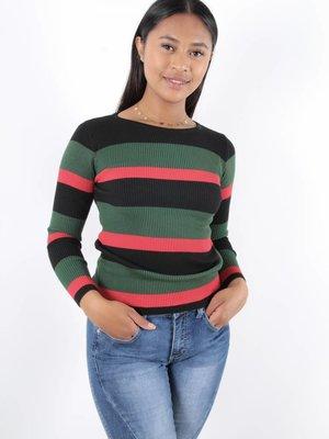 Cherry Koko Top stripe rib grb