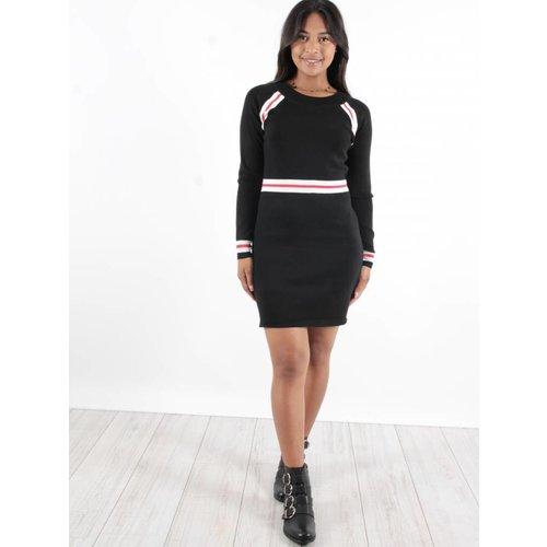 Yu & Me Dress rib sporty stripe