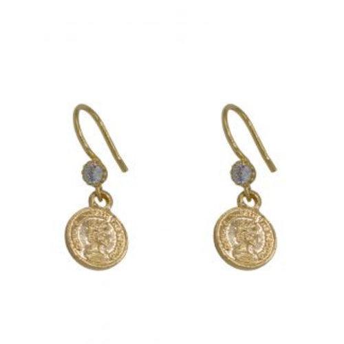 À la Earrings Coin diamond pair