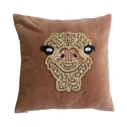 Velvet cushion ostrich