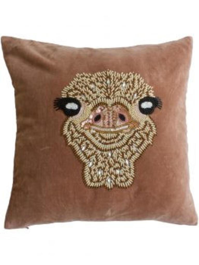 À la Velvet cushion ostrich