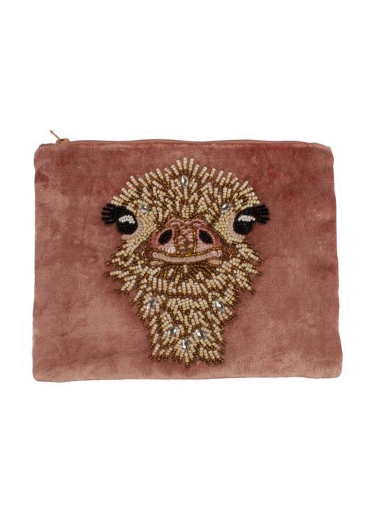À la Velvet pouch ostrich