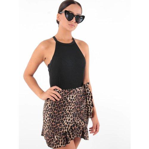 Red Fashion Leopard skirt ruffle