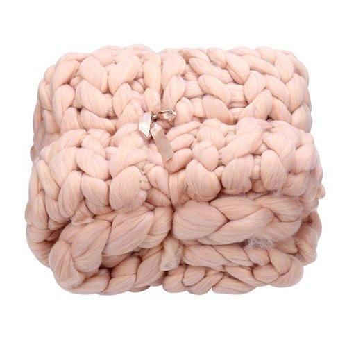 Yehwang Chunky knit blanket rose
