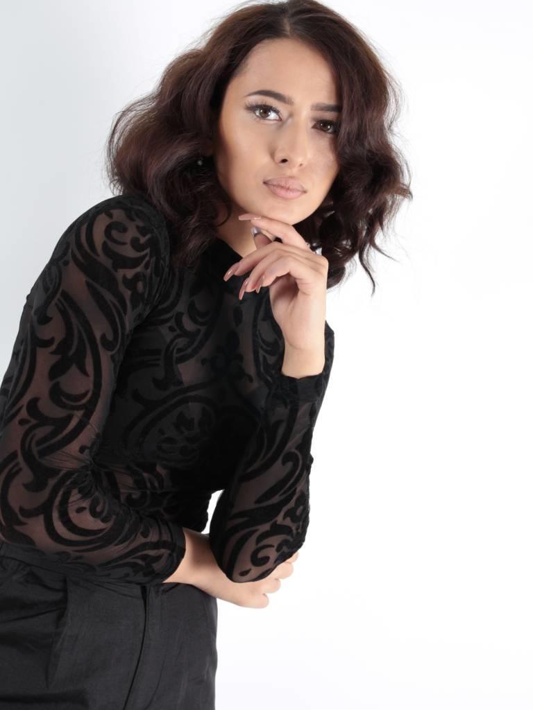 May Body velvet print black