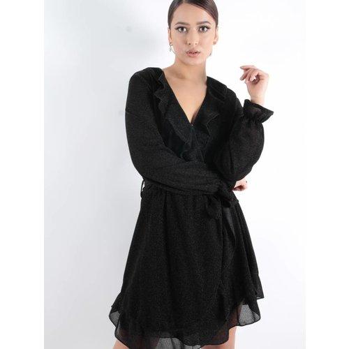 Ambika Glitter wrap dress black