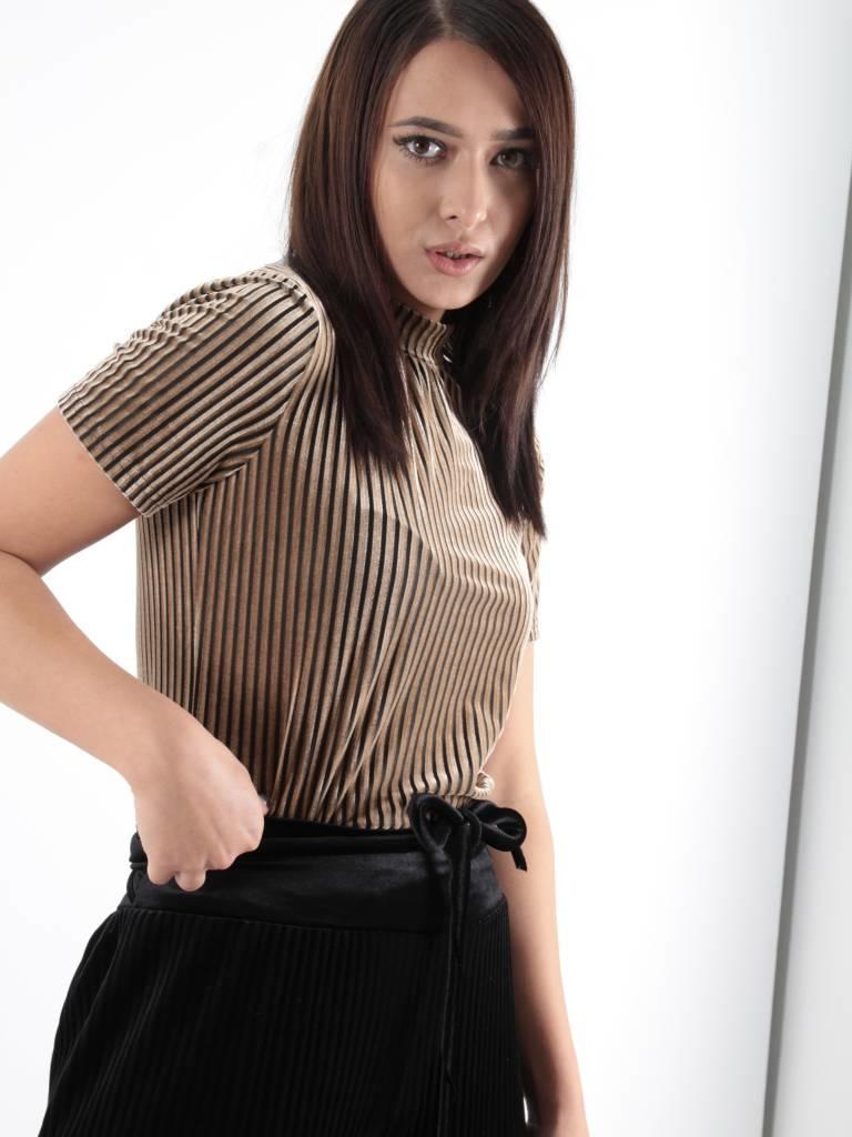 Ivivi Velvet stripe shirt taupe