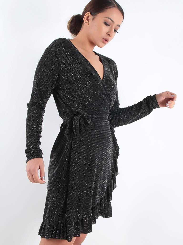 Ladylike Wrap V-glitter dress
