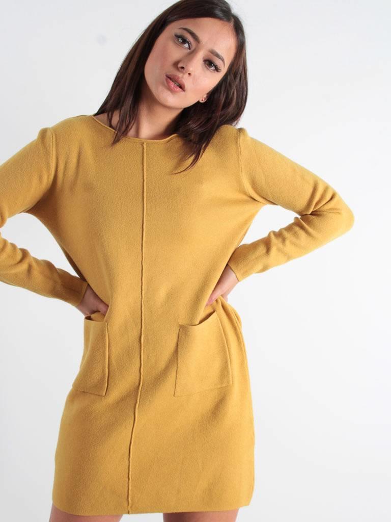 Ladylike Maglieria long sweater dress mustard