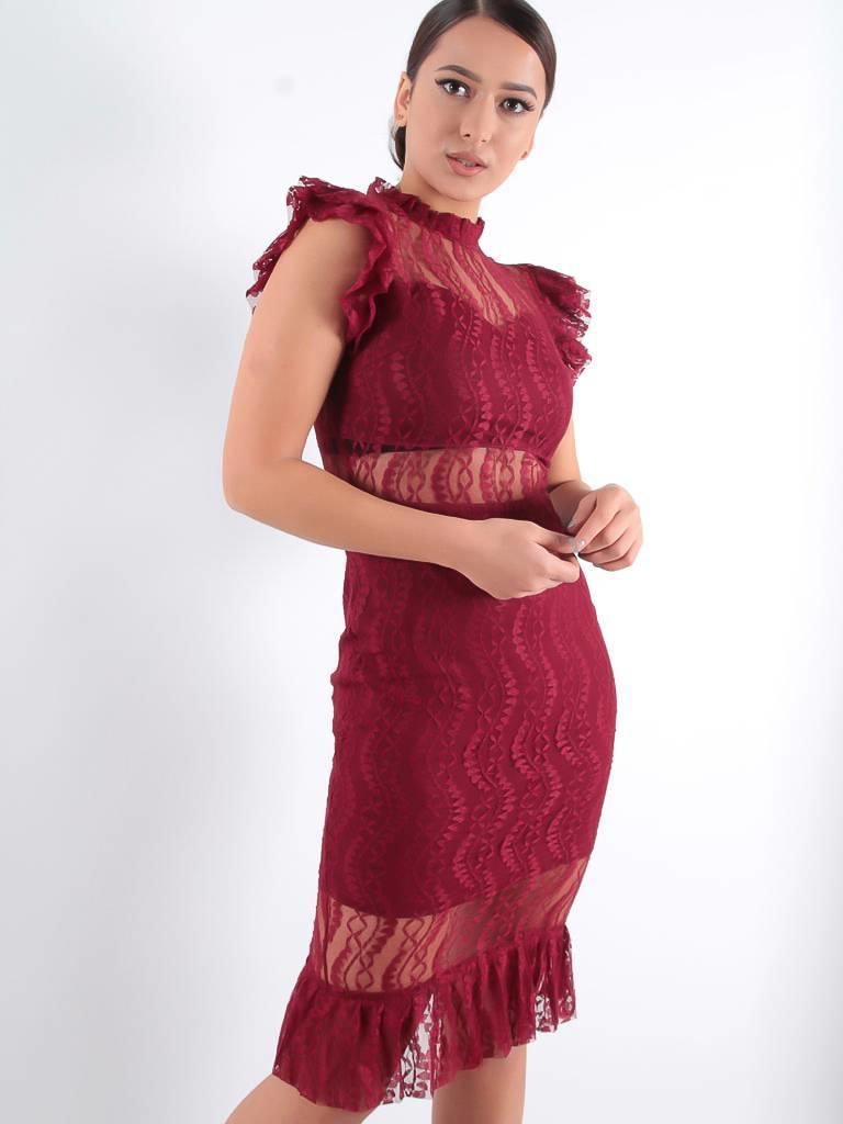 Lucy Wang Elegant lace dress bordeaux