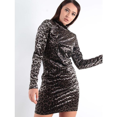 Ambika Marly velvet leopard dress