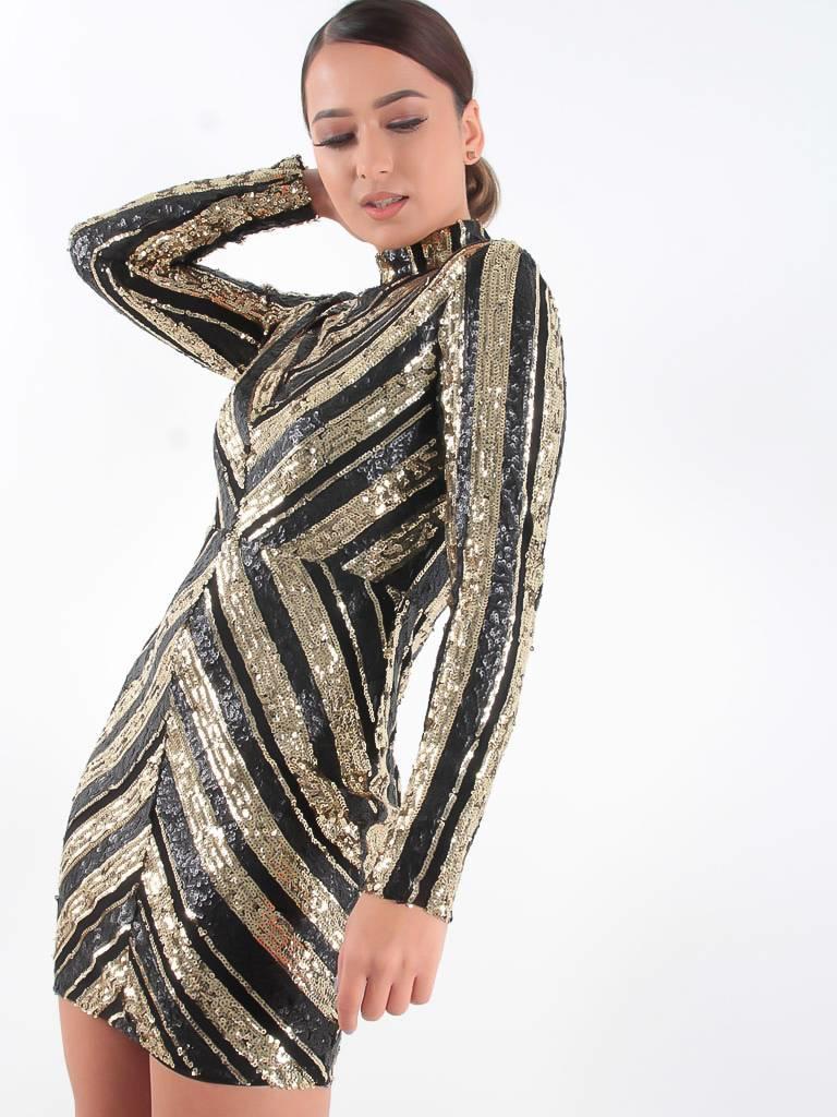 F&P Paillet dress gold/black